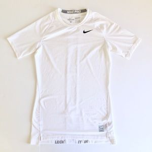 Nike Pro Bright White Dri Fit Short Sleeve Tee M